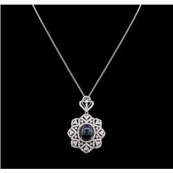 23.38ct Blue Star Sapphire and Diamond Pendant With Chain - 14KT White Gold