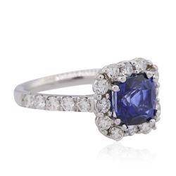 14KT White Gold 3.00ct Sapphire and Diamond Ring
