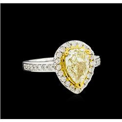 2.19ctw Fancy Light Yellow Diamond Ring - 14KT Two-Tone Gold
