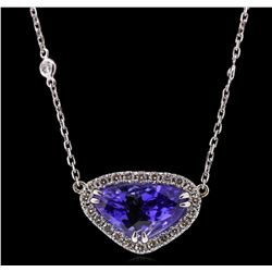 14KT White Gold 5.52ct Tanzanite and Diamond Necklace