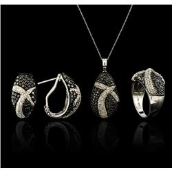 5.45ctw Black Diamond Pendant and Earrings Set - 14KT White Gold