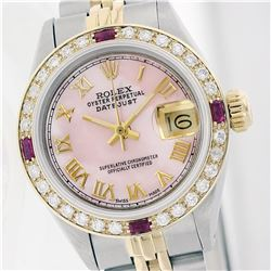 Rolex Two-Tone Diamond and Ruby DateJust Ladies Watch