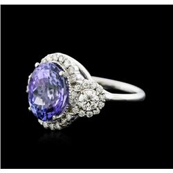14KT White Gold 6.14ct Tanzanite and Diamond Ring