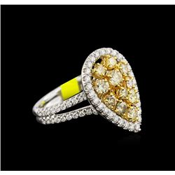 2.04ctw Fancy Yellow Diamond Ring - 14KT White Gold