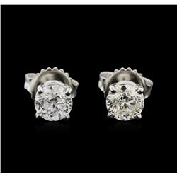 1.39ctw Diamond Stud Earrings - 14KT White Gold
