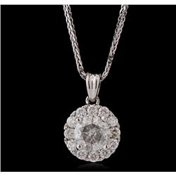 14KT White Gold 0.96ctw Diamond Pendant With Chain