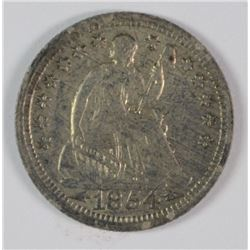 1854 SEATED LIBERTY HALF DIME, AU+