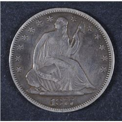 1877 SEATED LIBERTY HALF XF++