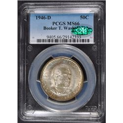 1946-D BOOKER T. WASHINGTON COMMEMORATIVE HALF DOLLAR, PCGS  MS-66 CAC
