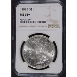 1881-S MORGAN SILVER DOLLAR, NGC MS-65+