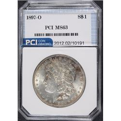 1897-O MORGAN SILVER DOLLAR, PCI CHOICE BU, VERY RARE IN THIS GRADE