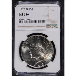1923-D PEACE SILVER DOLLAR, NGC MS-63+