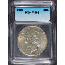 1927 PEACE SILVER DOLLAR, ICG MS-63