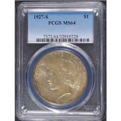 1927-S PEACE SILVER DOLLAR, PCGS MS-64