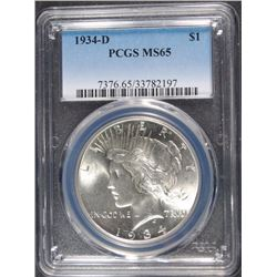 1934-D PEACE SILVER DOLLAR, PCGS MS-65 BLAST WHITE!