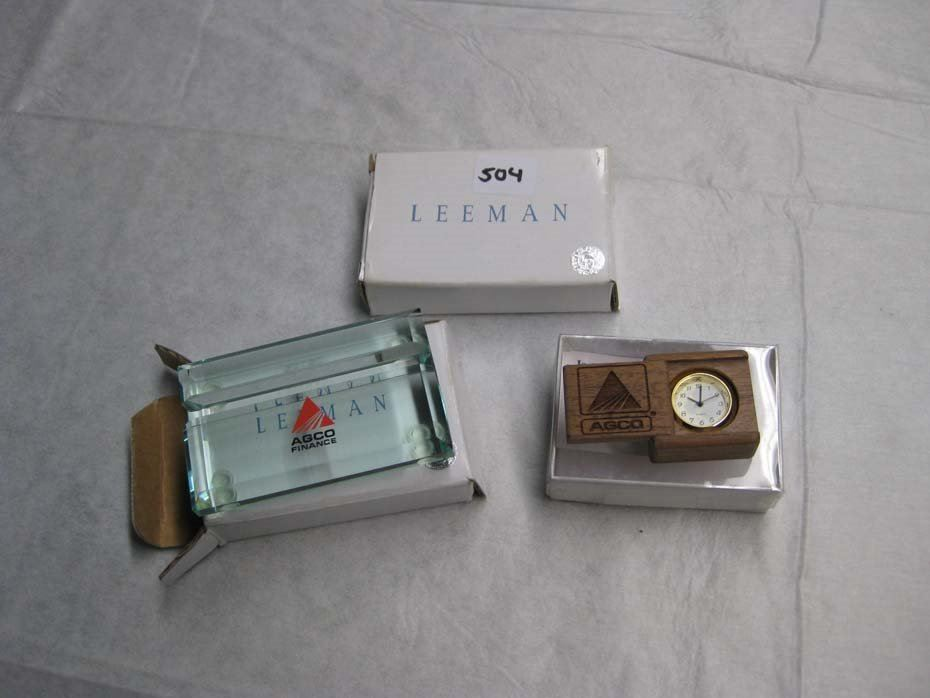 Agco Finance Business Card Holders (Two - Glass) and Agco Clock Mini