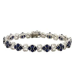 14KT White Gold 12.62ctw Sapphire and Diamond Bracelet