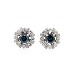 18KT White Gold 1.04ctw Blue Diamond and Diamond Earrings