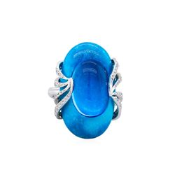 14KT White Gold 10.91ct Blue Topaz, Diamond and Turquoise Ring