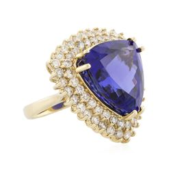 14KT Yellow Gold 21.69ct GIA Cert Tanzanite and Diamond Ring