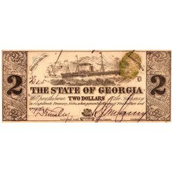 1864 $2 State of Georgia Confederate Currency Note