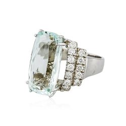 14KT White Gold GIA Certified 15.62ct Aquamarine and Diamond Ring