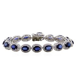 14KT White Gold 14.32ctw Sapphire and Diamond Bracelet