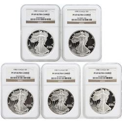 5 Coin Set 1986-1990 Silver Eagle Coins NGC PF69 Ultra Cameo