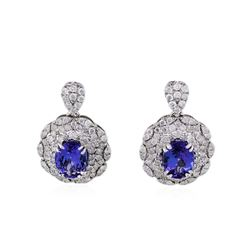 14KT Yellow Gold 3.32ctw Tanzanite and Diamond Earrings