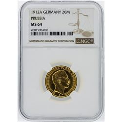 1912A Germany 20 Mark Prussia Gold Coin NGC Graded MS64
