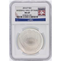 2014 Baseball HOF NGC Graded MS69 $1 Silver Coin Hall of Fame