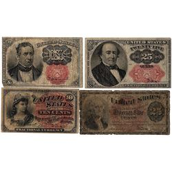 Assorted Fourth and Fifth Issue 10 & 25 Cent Fractional Currency Notes
