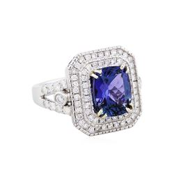 14KT White Gold 4.05ct Tanzanite and Diamond Ring