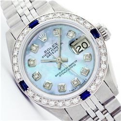 Womens Rolex Stainless Steel Diamond And Sapphire Datejust Wristwatch