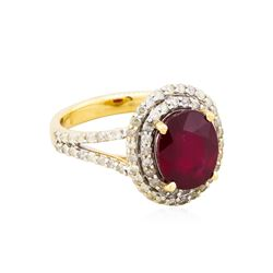 14KT Yellow Gold 4.17ct Ruby and Diamond Ring