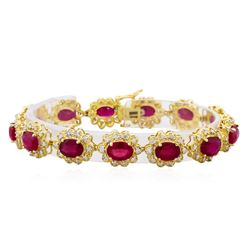 14KT Yellow Gold 22.90ctw Ruby and Diamond Bracelet