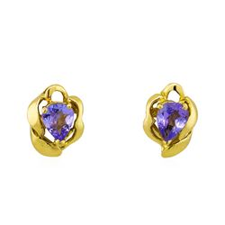 14KT Yellow Gold .50ctw Tanzanite Stud Earrings