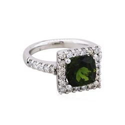 14KT White Gold 2.31ct Green Tourmaline and Diamond Ring