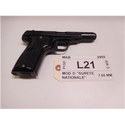 "MAB ,  MODEL: MOD D ""SURETE NATIONALE"" ,  CALIBER: 7.65 MM"