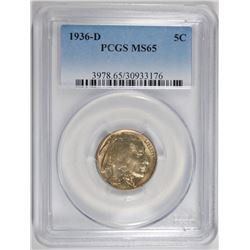 1936-D BUFFALO NICKEL PCGS MS-65
