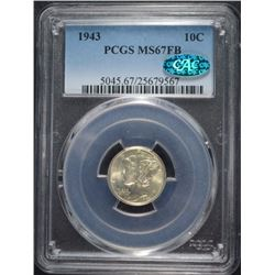 1943 MERCURY DIME, PCGS MS-67 FULL BANDS  CAC