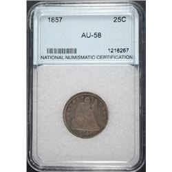 1857 QUARTER, NNC GRADED AU/UNC