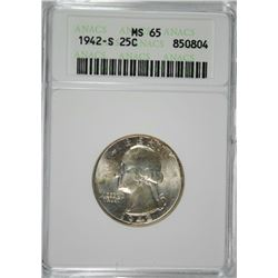 1942-S WASHINGTON QUARTER ANACS MS65 GEM