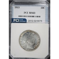 1913 BARBER HALF DOLLAR, PCI GRADED CHOICE BU RARE!