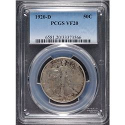 1920-D WALKING LIBERTY HALF DOLLAR, PCGS VF-20  TOUGH EARLY DATE!