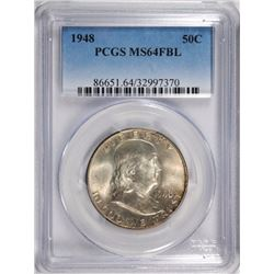 1948 FRANKLIN HALF DOLLAR PCGS MS 64 FBL
