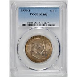 1951-S FRANKLIN HALF PCGS MS-65  NICE ORIGINAL