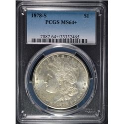 1878-S MORGAN SILVER DOLLAR, PCGS MS-64+