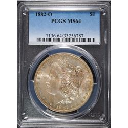 1882-0 MORGAN SILVER DOLLAR, PCGS MS-64