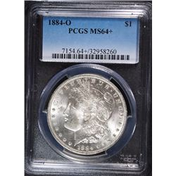 1884-O MORGAN SILVER DOLLAR, PCGS MS-64+